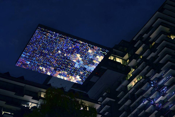 Tallest Living Wall in the World - at night - Sydney